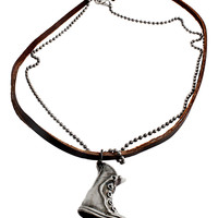 Leather & Chain Boot Necklace in Brown – bandbcouture.com