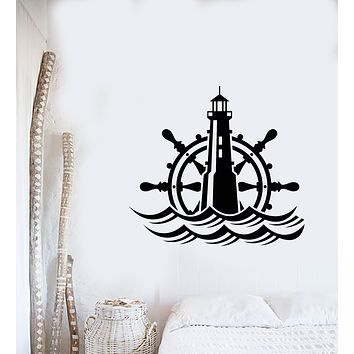 Vinyl Wall Decal Lighthouse Ship's Wheel Nautical For Sailor Stickers (3439ig)