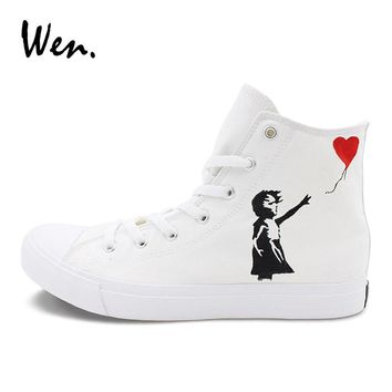 Wen Classic Canvas Shoes Hand Painted Sneakers Red Heart Balloon Little Girl Original Design Skateboarding Sports Sneakers