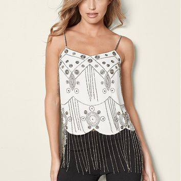 Beaded Fringe Top in White Multi | VENUS