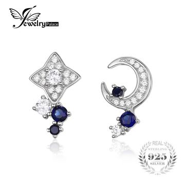 JewelryPalace Moon & Star 0.8ct Created Sapphire Stud Earrings 100% Real 925 Sterling Silver Fine Accessories Simple Jewelry