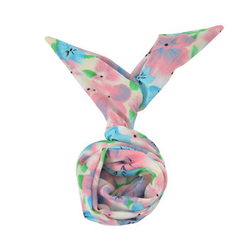 Pink Blue Flower Floral Vintage 60's Headband Rabbit Ear Wire Bun Ponytail Wraps Hair Twist Hairband Band Bow Accessory (#HBS-613-BLPN)