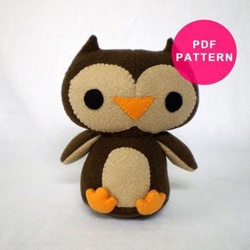Plush Owl Bird Stuffed Animal PDF Sewing Pattern
