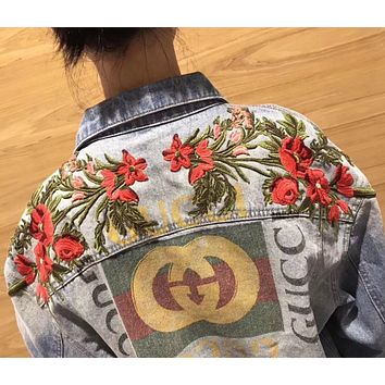 Gucci Fashion Trending Print Flower Embroidery Long Sleeve Denim Cardigan Jacket Coat G
