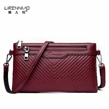 LIRENNIAO Handbag Women Clutch Bag Simple Shoulder Bags for Girls Solid Leather Purses and Handbags 2017 Clutch Bags Woman