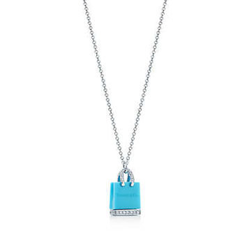 Tiffany & Co. - Tiffany Shopping Bag pendant with turquoise and diamonds in platinum.