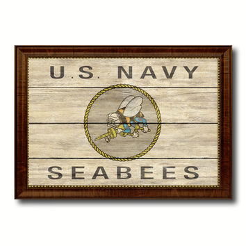 US Navy Seabees Military Flag Texture Canvas Print with Brown Picture Frame Home Decor Wall Art Gifts