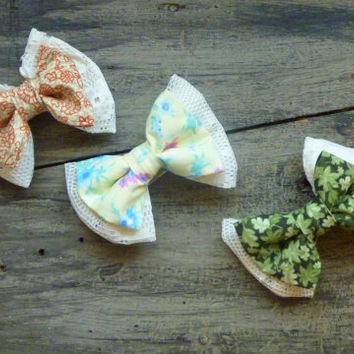 Bows and Lace Hair Clips - Spring/Summer Set of Three