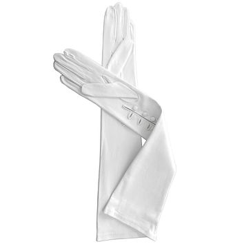 White, Elbow Length, 12-button Leather Gloves with 3 Buttons at the Wrist, Lined in Silk.