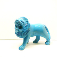 wooden lion figurine  //  turquoise, upcycled wood, aqua blue, lions, wooden figurines, kitsch, safari decor, animals