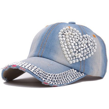 Brand New Heart Baseball Caps Fashion Jean Hat Casual Women Denim Baseball Cap Sun Hat