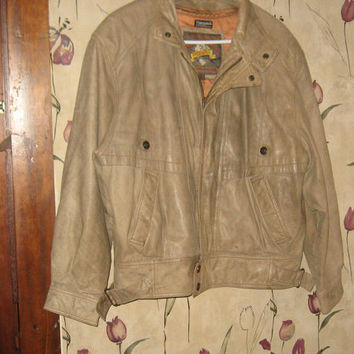 vintage ADVENTURE Bound   brown leather bomber  motorcycle  Flight jacket size large