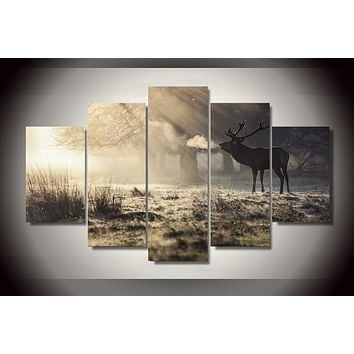 Framed Printed Winter deer Painting on canvas room decoration print poster picture canvas Free shipping F/1782