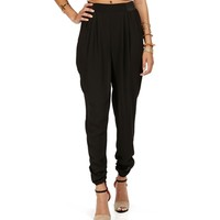 Black Solid Harem Pants