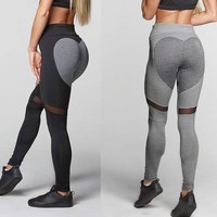 Love Patchwork Yoga Pants Women Stretchy Workout Gym