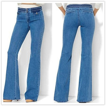 High Waist Bootcut Jeans Denim Pant Jean Slim Femme Plus Size Cotton Flare Jean M-5XL [8833479564]