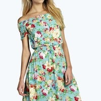 Bellatrix Woven Floral Off The Shoulder Dress