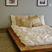 Quilmes Floating Rustic Wood Platform Bedframe
