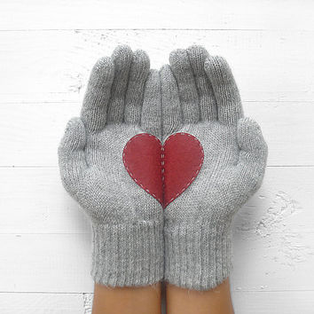 VALENTINE'S DAY Gift, Heart Gloves, Grey Gloves, Gray, Burgundy, Cherry, Special Gift, Gift For Her, Love, Valentine's Gift, Gift Idea, Girl