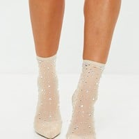 Missguided - Nude Embellished Mesh Sock Boots
