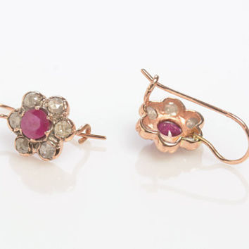 Drop earrings - diamond - Ruby with Rose Cut Diamonds Handmade in 14K Gold Wire back with hook and lever