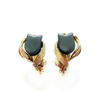 Vintage Signed Gray Lucite Thermoset Earrings