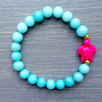 Turquoise Sea Turtle Gemstone Bracelet