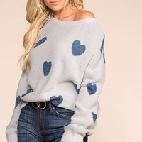 Be Mine Dusty Blue Heart Sweater