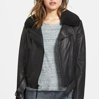 Women's MICHAEL Michael Kors Two-Tone Leather Moto Jacket with Genuine Shearling Collar (Online Only)