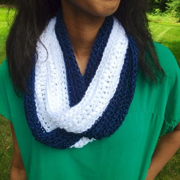 Crochet Infinity Scarf, White and Navy, Crocheted Cowl