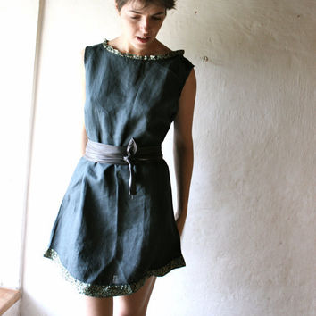 Teal Linen Tunic Shift dress by larimeloom on Etsy
