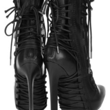Haider Ackermann Lace-up leather ankle boots – 60% at THE OUTNET.COM