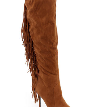 Camel Fringe Knee High Single Sole Boots Faux Suede