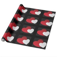 Black red white hearts wrapping paper