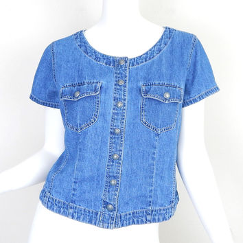 Shop short sleeve chambray shirt on wanelo for Short sleeve chambray shirt women