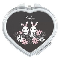 Cute Bunnies Personalized Kawaii Heart-Shaped Compact Pocket Mirror Gifts for Girls: More Styles Available