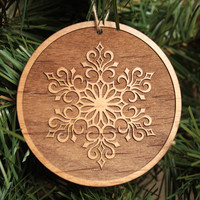 Wooden Snowflake Ornaments - Christmas Decorations