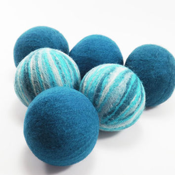 Felted Wool Dryer Balls - Peacock and Turquoise Striped Eco-Friendly Laundry Balls - Chemical Free Laundry - Money Saving - cat toy