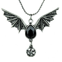Bat Wing Black Stone Pentagram Necklace Gothic Jewelry
