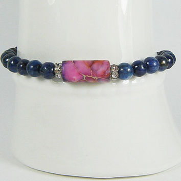 Lapis Stone Bracelet with Marble Pink Opal, Semi Precious Stone, Stackable, Toggle Bracelet, Energy Jewelry