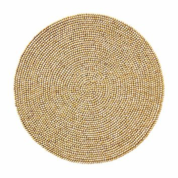Wood Bead Placemats in Natural - Set Of 4