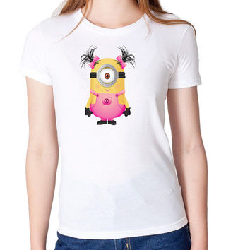 Cute pink Girl minions design Woman's High Quality T Shirt