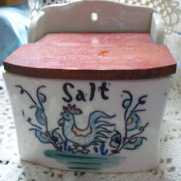 Vintage Salt Box with a Rooster