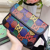 GUCCI New Women Men Leather Personality Chest Bag Waist Bag Shoulder Bag Crossbody Satchel