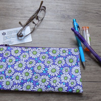 Zipper Pouch, Purple Floral Zipper Pouch, Pencil Case, Makeup Bag, Cosmetic Bag, Purse Organizer, Accessory Bag