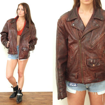 Vintage 80s LEATHER Brown Mahogany Patina Motorcycle Biker Moto Jacket // Hipster Grunge Western Boho Gypsy // Small / Medium / Large