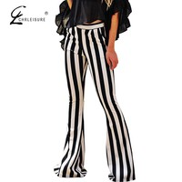 Striped Flare Pants Black White Long Pants
