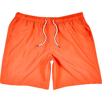 River Island MensOrange mid length swim trunks