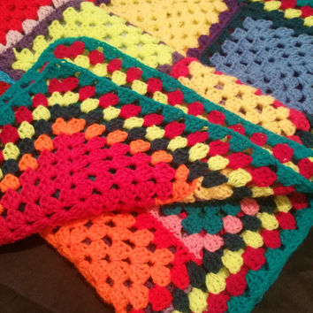 Rainbow afghan blanket length 31 ins width 46ins multi purpose unisex blanket photographer prop car seat cover beding perfect gift