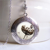 Locket Necklace, Botanical Necklace, Dandelion Necklace, Photo Locket
